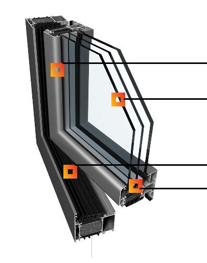 Hliníkové okná PONZIO PE 78 N + PONZIO PE 78 N HI